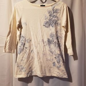 ❤3/$15 Talbots cream striped blue floral print top